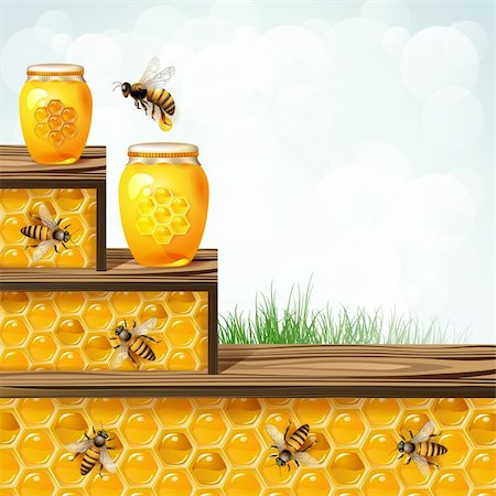 Landscape frame with glass jar bees and honeycombs Stock Photo - Budget Royalty-Free & Subscription, Code: 400-06513533
