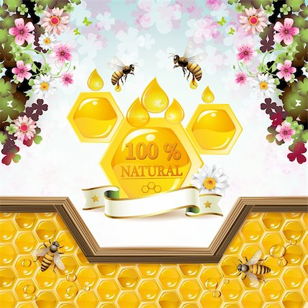 Honey and bees over floral background Stock Photo - Budget Royalty-Free & Subscription, Code: 400-06513588