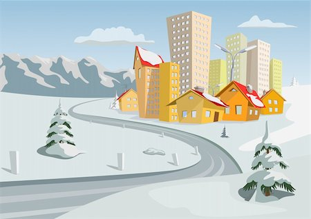 road landscape - Colorful winter vector city, Vector art Stock Photo - Budget Royalty-Free & Subscription, Code: 400-06513853