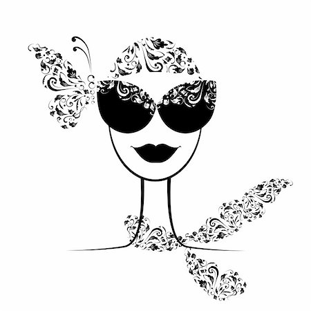 Female fashion silhouette with sunglasses your design Stock Photo - Budget Royalty-Free & Subscription, Code: 400-06513909