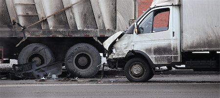 collision of the truck and car Stock Photo - Budget Royalty-Free & Subscription, Code: 400-06524355