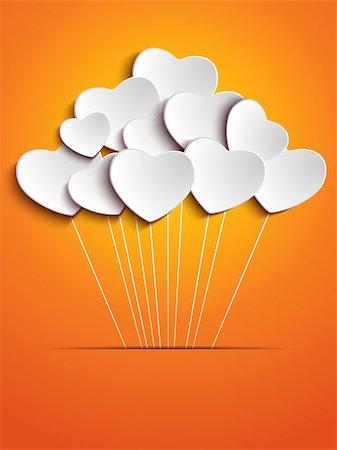 Valentines Day Heart Balloons on Orange Background Stock Photo - Budget Royalty-Free & Subscription, Code: 400-06525022