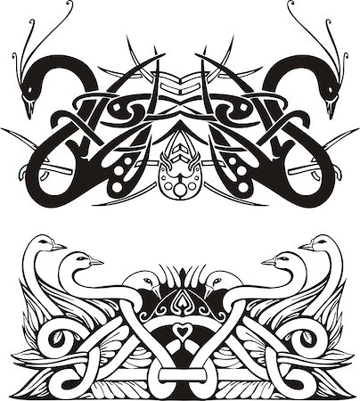 Stylized symmetric knot vignettes with birds. Vector illustration EPS8 Stock Photo - Budget Royalty-Free & Subscription, Code: 400-06525128