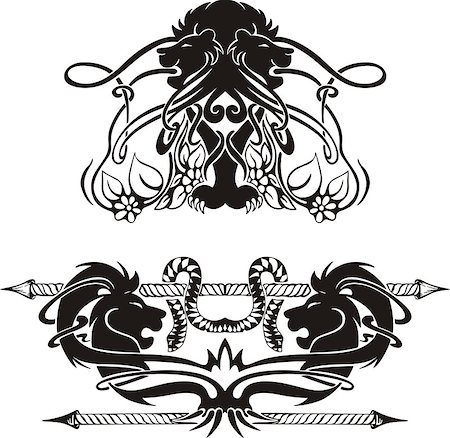 Stylized symmetric vignettes with lions. Vector illustration EPS8 Stock Photo - Budget Royalty-Free & Subscription, Code: 400-06525133