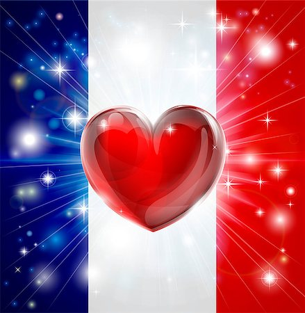 fireworks vector - Flag of France patriotic background with pyrotechnic or light burst and love heart in the centre Stock Photo - Budget Royalty-Free & Subscription, Code: 400-06525991