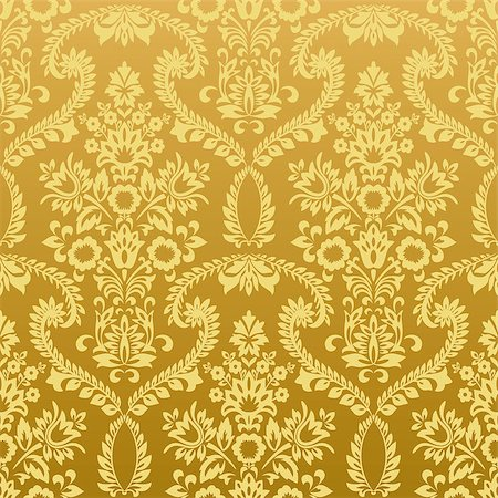 Seamless classic retro gold wallpaper pattern. Nice to use as background. Stock Photo - Budget Royalty-Free & Subscription, Code: 400-06526199