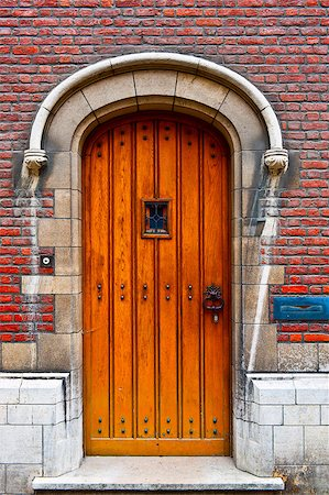 Solid Wooden Door in the Belgian City Stock Photo - Budget Royalty-Free & Subscription, Code: 400-06526640