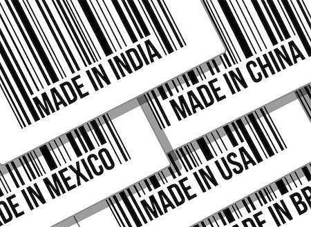barcode, trade war, business concept illustration design over white Stock Photo - Budget Royalty-Free & Subscription, Code: 400-06527174