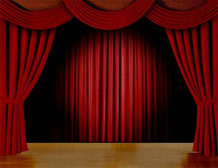 Red curtain on stage Stock Photo - Budget Royalty-Free & Subscription, Code: 400-06528703