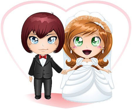 A vector illustration of a bride and groom dressed for their wedding day. Stock Photo - Budget Royalty-Free & Subscription, Code: 400-06529418