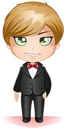 A vector illustration of a groon dressed in black suit for his wedding day. Stock Photo - Budget Royalty-Free & Subscription, Code: 400-06529477