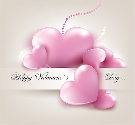 Valentin`s Day card with pink hearts. Vector Illustration. Stock Photo - Budget Royalty-Free & Subscription, Code: 400-06529641