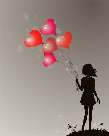 Background for Valentine's day with silhouette of girl Stock Photo - Budget Royalty-Free & Subscription, Code: 400-06521683