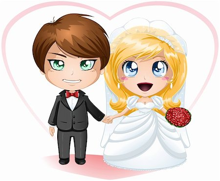 A vector illustration of a bride and groom dressed for their wedding day. Stock Photo - Budget Royalty-Free & Subscription, Code: 400-06522271