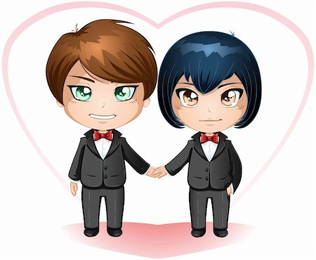 A vector illustration of gay men dressed in suits for their wedding day. Stock Photo - Budget Royalty-Free & Subscription, Code: 400-06522272