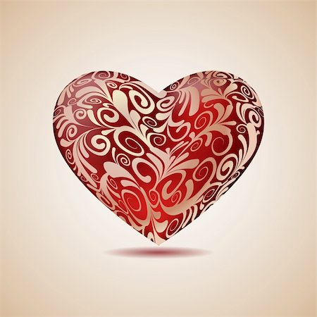Big Red Floral Heart , Vector Illustration Stock Photo - Budget Royalty-Free & Subscription, Code: 400-06522356