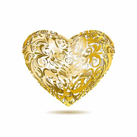 Gold Openwork Floral Heart , Vector Illustration Stock Photo - Budget Royalty-Free & Subscription, Code: 400-06522357