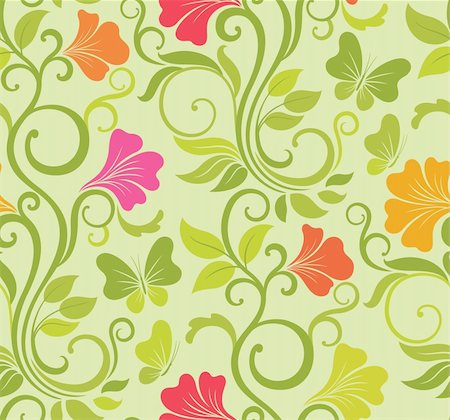 Floral vector seamless background with fresh spring flowers and butterflies Stock Photo - Budget Royalty-Free & Subscription, Code: 400-06522477