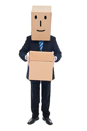 Successful happy businessman carrying cardboxes Stock Photo - Budget Royalty-Free & Subscription, Code: 400-06530086