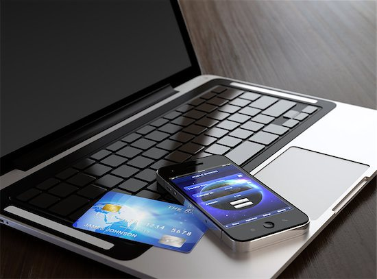 Computer generated image of mobile phone with mobile banking application on screen and credit card on laptop. Stock Photo - Royalty-Free, Artist: vasabii, Image code: 400-06530839