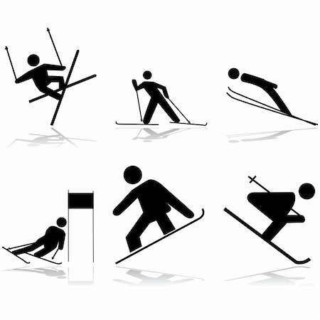 Icon illustrations showing different winter sports performed on snow surfaces Stock Photo - Budget Royalty-Free & Subscription, Code: 400-06554038