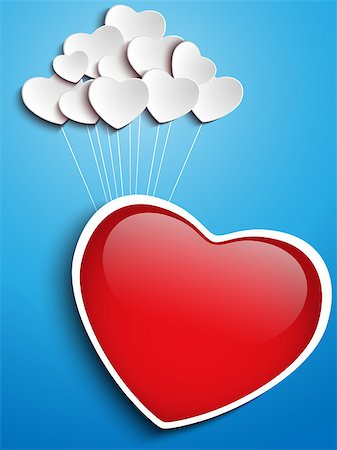 fly heart - Vector - Valentines Day Heart Floating with Heart Balloons Stock Photo - Budget Royalty-Free & Subscription, Code: 400-06554880