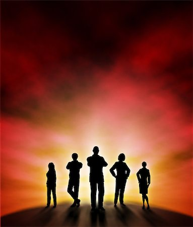 Editable vector illustration of a business team silhouette standing at a new dawn with background made using a gradient mesh Stock Photo - Budget Royalty-Free & Subscription, Code: 400-06554981