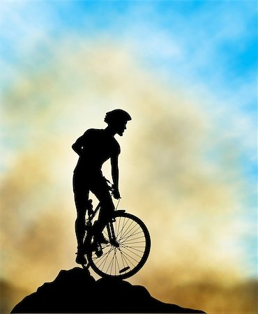 Editable vector illustration of a mountain biker silhouette high on a ridge with background sky and mist made using a gradient mesh Stock Photo - Budget Royalty-Free & Subscription, Code: 400-06554982