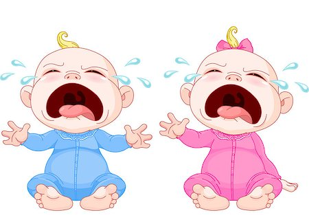 Cute crying baby twins Stock Photo - Budget Royalty-Free & Subscription, Code: 400-06556842