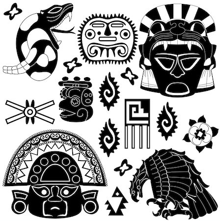 Vector image of ancient American pattern on white Stock Photo - Budget Royalty-Free & Subscription, Code: 400-06556867