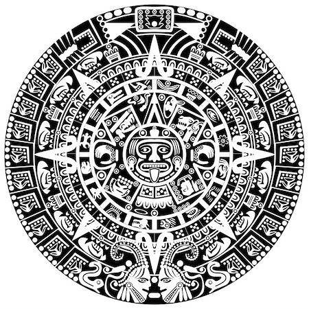 Vector of Mayan calendar on white background Stock Photo - Budget Royalty-Free & Subscription, Code: 400-06556872