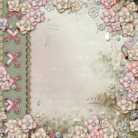 Old decorative background with flowers and pearls Stock Photo - Budget Royalty-Free & Subscription, Code: 400-06557545