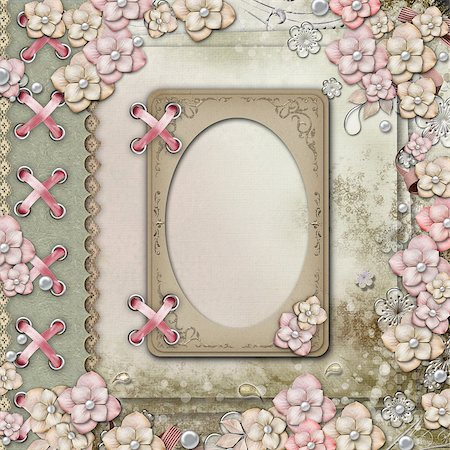 Album cover  with  frames, flowers and pearls Stock Photo - Budget Royalty-Free & Subscription, Code: 400-06557546