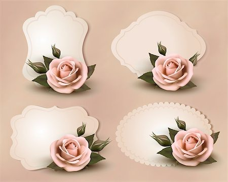 Collection of retro greeting cards with pink rose. Vector illustration. Stock Photo - Budget Royalty-Free & Subscription, Code: 400-06557727