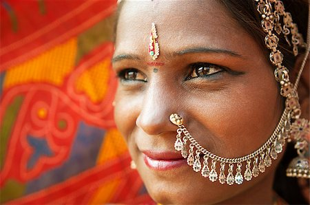 Close up face of Traditional Indian woman in sari costume, India Stock Photo - Budget Royalty-Free & Subscription, Code: 400-06558385