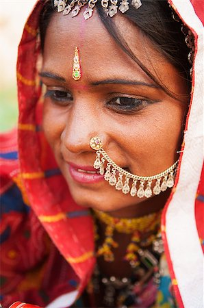Young Traditional Indian woman in sari costume covered her head with veil, India Stock Photo - Budget Royalty-Free & Subscription, Code: 400-06558387