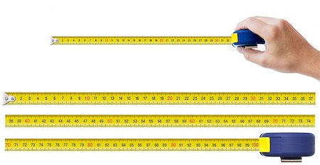 human hand with tape-measure and set of pieces allowing to make any size of tape up to one meter Stock Photo - Budget Royalty-Free & Subscription, Code: 400-06558643