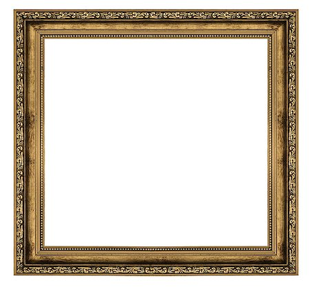 golden frame isolated on white background Stock Photo - Budget Royalty-Free & Subscription, Code: 400-06565167