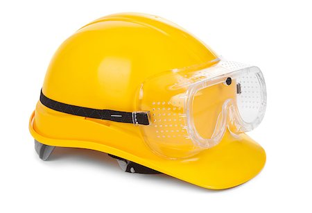 yellow hard hat and goggles on white, small natural shadow under object Stock Photo - Budget Royalty-Free & Subscription, Code: 400-06565176