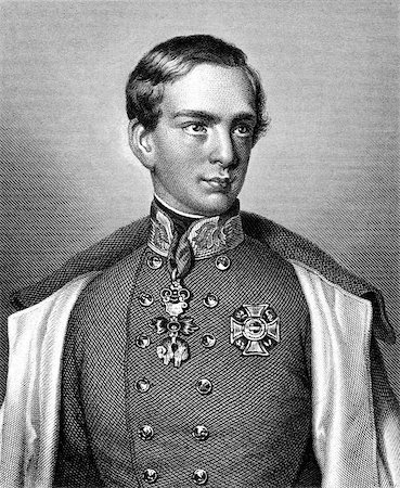 franxyz - Franz Joseph I of Austria (1830-1916) on engraving from 1859. Emperor of Austria. Engraved by unknown artist and published in Meyers Konversations-Lexikon, Germany,1859. Stock Photo - Budget Royalty-Free & Subscription, Code: 400-06565266