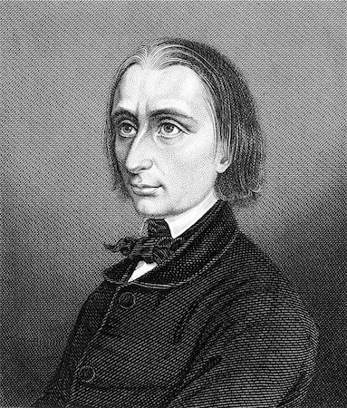 franxyz - Franz Liszt (1811-1886) on engraving from 1859. Hungarian composer, pianist, conductor and teacher. Engraved by unknown artist and published in Meyers Konversations-Lexikon, Germany,1859. Stock Photo - Budget Royalty-Free & Subscription, Code: 400-06565268