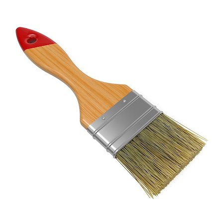 pouring paint art - Wooden Paintbrush Isolated on White Background. Stock Photo - Budget Royalty-Free & Subscription, Code: 400-06568049