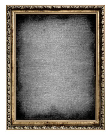 golden frame with empty canvas isolated on white background Stock Photo - Budget Royalty-Free & Subscription, Code: 400-06568754