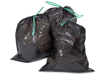 three garbage bags on white background Stock Photo - Budget Royalty-Free & Subscription, Code: 400-06568753