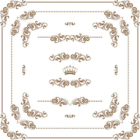 Vector set of gold decorative horizontal floral elements, corners, borders, frame, dividers, crown.  Page decoration. Stock Photo - Budget Royalty-Free & Subscription, Code: 400-06568878