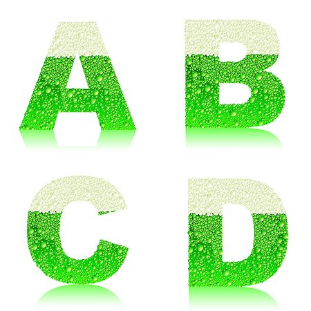the four letters of the alphabet with the texture of green beer Stock Photo - Budget Royalty-Free & Subscription, Code: 400-06569599