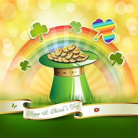 St. Patrick's Day card design with hat, clover and coins Stock Photo - Budget Royalty-Free & Subscription, Code: 400-06569690