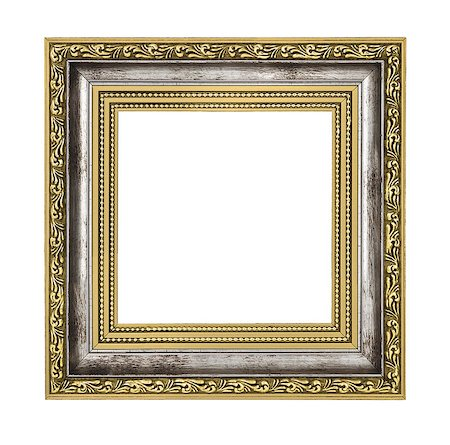 silver and gold frame isolated on white background Stock Photo - Budget Royalty-Free & Subscription, Code: 400-06569887