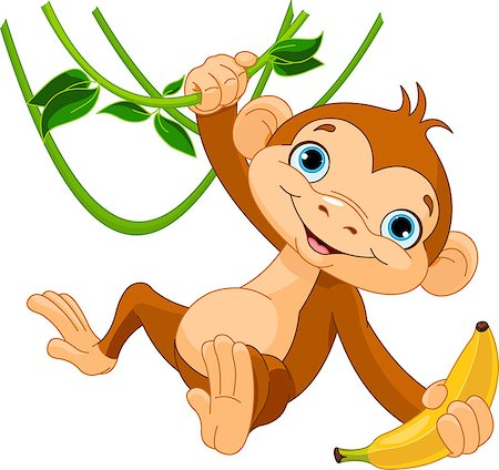 Cute baby monkey on a tree holding banana Stock Photo - Budget Royalty-Free & Subscription, Code: 400-06561878
