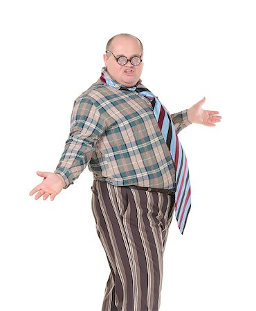 Fun portrait of an obese man with an outrageous fashion sense with oversized flamboyant tie, on white Stock Photo - Budget Royalty-Free & Subscription, Code: 400-06562036